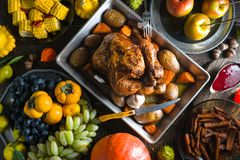 Feast with turkey on Thanksgiving, vegetables and fruits. Horizontal Stock Image