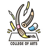 The feast of a variety of art tools. College of fine arts Mascot Stock Images