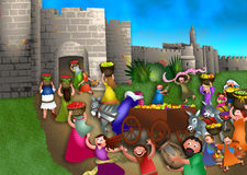 Feast of Weeks. A cartoon illustration depicting the Jewish celebration of Shavuot with the people bringing the first fruits of the land to Jerusalem to lay on Royalty Free Stock Photos