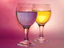 Feast in wineglass. Wineglass with magical smack drinkables Stock Image