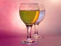 Feast in wineglass. Wineglass with magical smack drinkables Stock Photo