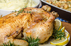 Feasting - stuffed roast chicken with herbs. Mashed potatoes with oregano leaves and homemade stuffing with herbs, freshly squeezed orange juice, fresh fruits Royalty Free Stock Photo