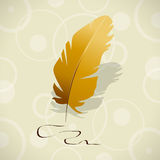 Feather. Vector illustration with golden feather Royalty Free Stock Photo