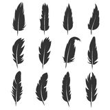 Feather, antique pen black vector icons isolated on white background Stock Images