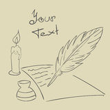 Feather candle  paper Vintage background Hand drawn  eps 1 Royalty Free Stock Photo