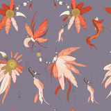 Feather and charm forest pattern Royalty Free Stock Photos
