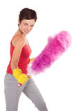 Feather cleaner fight Stock Photo