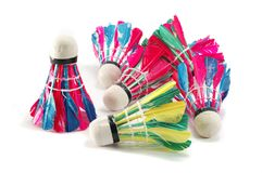 Feather colourful shuttelcocks on white background Stock Photo
