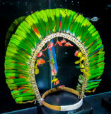 Feather crown of native american indians. Crown feather cap of native America indian in Bolivia, La Paz museum stock images