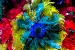 Feather crown of native american indians. Feather crown and traditional clothes of of native America indian in Bolivia, La Paz museum stock images