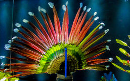 Feather crown of native american indians. Feather crown and traditional clothes of of native America indian in Bolivia, La Paz museum stock photos