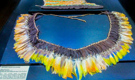 Feather crown of native american indians. Feather crown and traditional clothes of of native America indian in Bolivia, La Paz museum royalty free stock photography