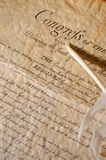 Feather with the declaration. United States Declaration of Independence - pointing the congress stock image
