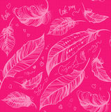 Feather decorative pink pattern Royalty Free Stock Images
