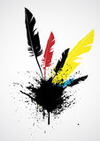 Feather detailed illustration. Black ink blot and feather on white background isolated Royalty Free Stock Images