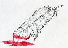 Feather dipped in blood or red paint. Hand drawn ink sketch of a feather dipped in blood or red paint Royalty Free Stock Photography