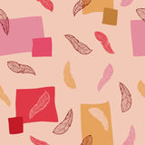 Feather doodle graphic art seamless pattern red pink yellow color illustration Stock Images
