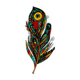 Feather. Doodle feather for t-shirt, coloring books and tattoo. Vector illustration stock illustration