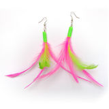 Feather earrings. (fluor color) isolated on white background Royalty Free Stock Photography