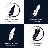Feather, elegant pen, law firm, lawyer, writer literary vector logos set. Emblem with fluffy plume silhouette illustration Stock Images