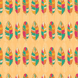 Feather ethno pattern background. Seamless feather pattern background. Endless colorful texture Vector Illustration