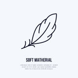 Feather flat line icon. Vector sign for soft, lightweight matherial property royalty free illustration