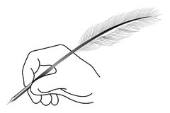 Feather hand writing Stock Images