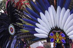 Feather headdress. Headdresses using pre-hispanic tribes Royalty Free Stock Photos