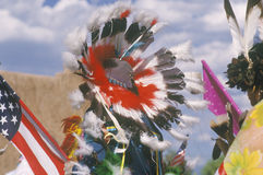 Feather headdress of Native American Stock Image