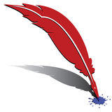 Feather and ink. Red feather and blue ink Royalty Free Illustration