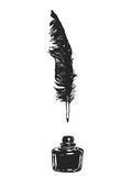 Feather and ink. On the white Royalty Free Stock Images