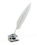 Feather and ink bottle. 3d render Royalty Free Stock Photography