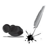 Feather And Ink Bottle. Illustration design Royalty Free Stock Photos