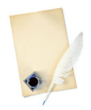 Feather, ink and sheet of old paper Royalty Free Stock Photography