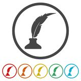 Feather with ink sign icon, 6 Colors Included. Simple vector icons set Royalty Free Stock Photos