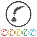 Feather with ink sign icon, 6 Colors Included. Simple vector icons set Stock Image