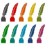 Feather with ink sign icons set. Vector icon Royalty Free Stock Photography