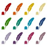 Feather with ink sign icons set. Vector icon Stock Photo