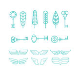 Feather, key and wing Set in Linear Style, Vector. Vector set of feathers, keys and wings in trendy linear style, tattoo concepts and logo design elements Royalty Free Stock Images