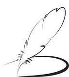 Feather with line Stock Photo