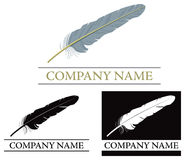 Feather Logo. A set of Feather logos in Colour and black and white Stock Photo