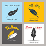 Feather logo set Royalty Free Stock Image