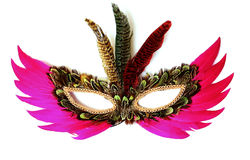 Feather mask. Colored feather mask on white background stock images