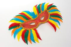 Feather Mask. Colorful feather Mask Royalty Free Stock Photo