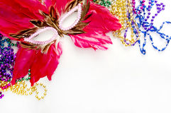 Feather mask for mardi gras Royalty Free Stock Photos