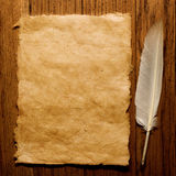 Feather on a old paper Royalty Free Stock Photos