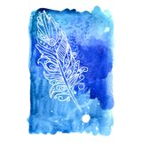 Feather painted live watercolor paint Stock Photo