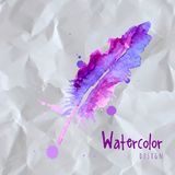 Feather painted live watercolor paint Royalty Free Stock Photo