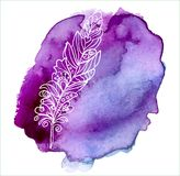Feather painted live watercolor paint Royalty Free Stock Image