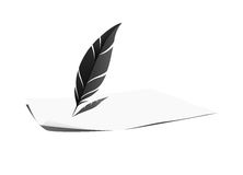 Feather and paper Stock Images